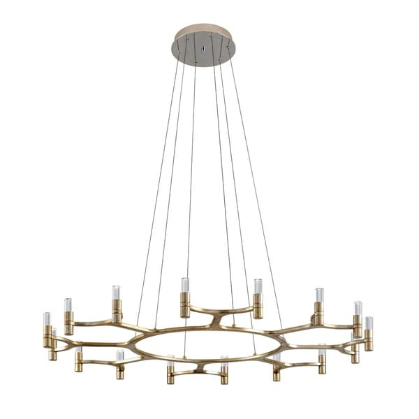 Corbett Lighting Nexus 16-light LED Silver Leaf Chandelier with Polished Stainless Accents