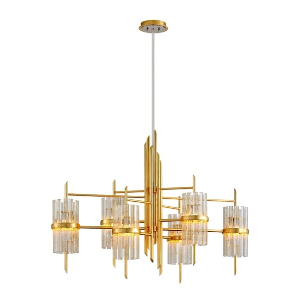 Corbett Lighting Symphony 6-light Gold Leaf Chandelier with Polished Stainless Accents