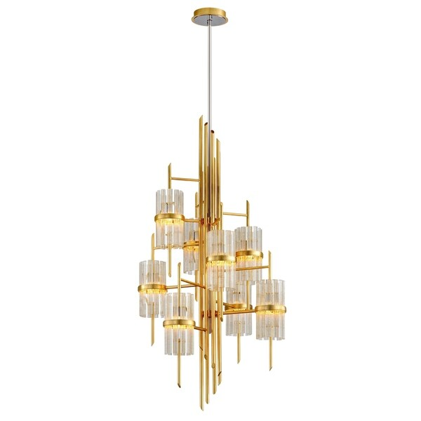 Corbett Lighting Symphony 8-light Gold Leaf Chandelier with Polished Stainless Accents