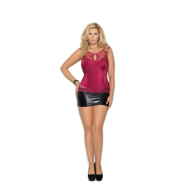 1c1cf7b15 Shop Elegant Moments women s plus size stretch satin top and panty - Free  Shipping On Orders Over  45 - Overstock - 20376435