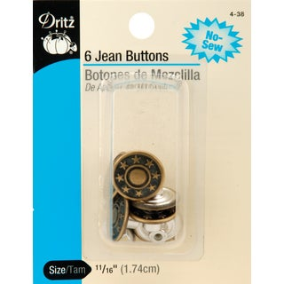 "Dritz No-Sew Jean Buttons 11/16"" 6/Pkg"