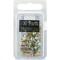 Mini Painted Metal Paper Fasteners 3mm 100/Pkg