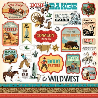 """Cowboy Country Cardstock Stickers 12""""X12"""""""