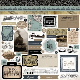 """Old World Travel Cardstock Stickers 12""""X12"""""""