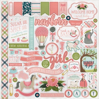 """Rock-A-Bye Baby Girl Cardstock Stickers 12""""X12"""""""