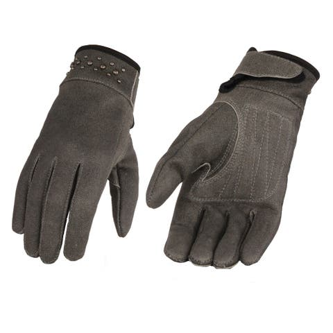 Ladies Grey Leather Glove w/ Gel Pam & Rivet Detailing
