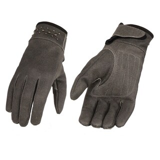 Ladies Grey Leather Glove w/ Gel Pam & Rivet Detailing