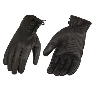 Ladies Deerskin Leather Riding Glove w/ Gel Pam & Laced Wrist