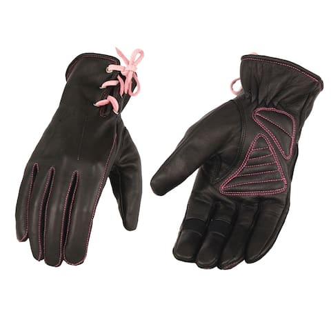 Ladies Leather Riding Glove w/ Gel Pam & Pink Lacing