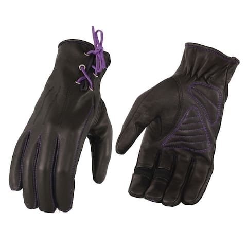 Ladies Leather Riding Glove w/ Gel Pam & Purple Lacing
