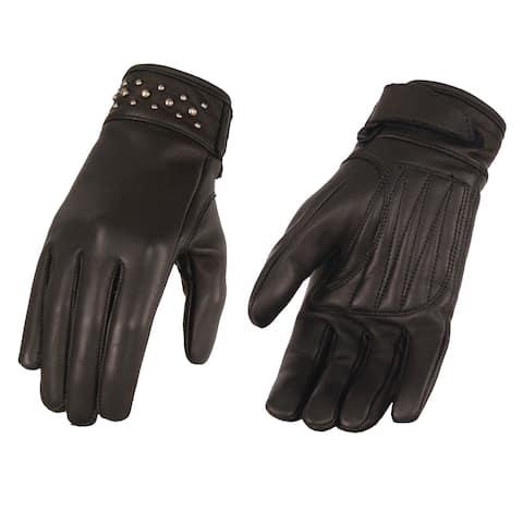 Ladies Black Leather Glove w/ Gel Pam & Rivet Detailing