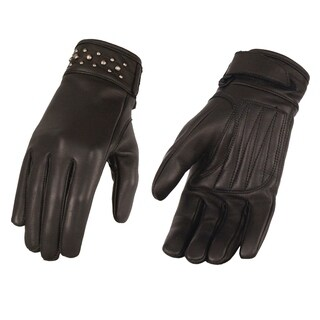 Ladies Black Leather Glove w/ Gel Pam & Rivet Detailing