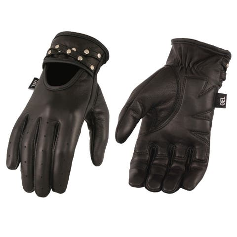 Ladies Black Leather Driving Glove w/ Gel Pam & Studs