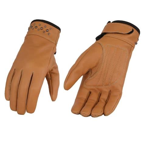 Ladies Saddle Leather Glove w/ Gel Pam & Rivet Detailing