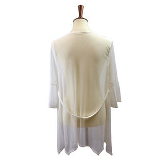 Le Nom Spring and Fall Fashion Light Sheer Cardigan with Bell Sleeves and Belt Back