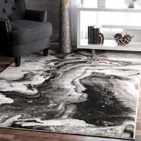 nuLOOM Contemporary Abstract Grey Area Rug (9' x 12') - 9' x 12'