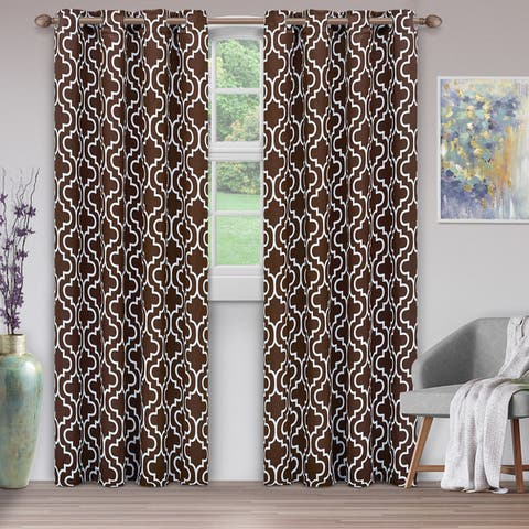 Superior Trellis Blackout Grommet Curtain Panel Pair