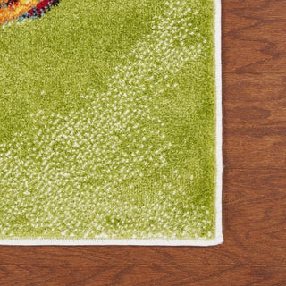 """LR Home Fusion Abstract Swirl White / Green Runner Rug (2'3"""" x 7') - 2'3"""" x 7'"""