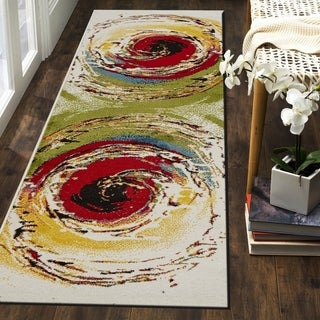 "LR Home Fusion Abstract Swirl White / Green Runner Rug (2'3"" x 7') - 2'3"" x 7'"