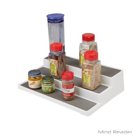 Mind Reader 3 Tier Cabinet Step Storage Shelf Organizer, Gray