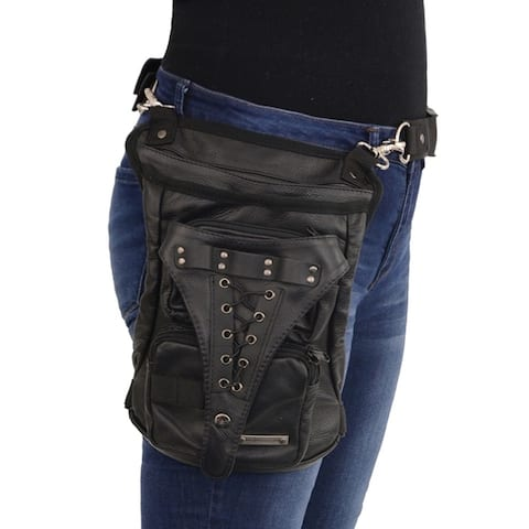 Conceal & Carry Black Leather Thigh Bag w/ Waist Belt