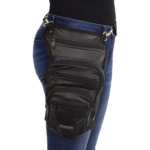 Large Conceal & Carry Black Leather Thigh Bag w/ Waist Belt