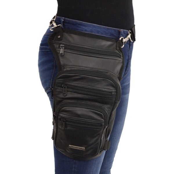 Large Conceal Carry Black Leather Thigh Bag W Waist Belt Free Shipping Today 20378297