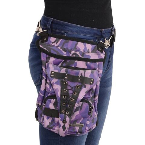Conceal & Carry Purple Camo Leather Thigh Bag w/ Waist Belt