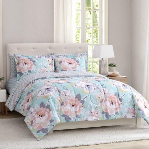 Sara Floral Microfiber Peach and Oak Multi 3-piece Comforter Set with Comforter and Shams