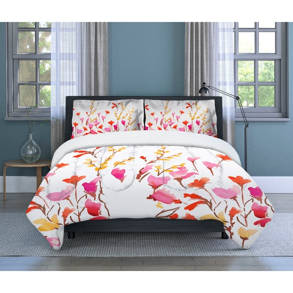 c61d78e055 Lovely Flowers Floral, Microfiber, Orange/ Multi, 3-piece Comforter Set  Inspired