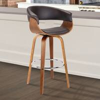 """Armen Living Julyssa 26"""" Mid-Century Swivel Counter Height Barstool in Brown Faux Leather with Walnut Wood"""