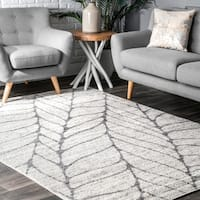 Porch & Den Williamsburg Roebling Abstract Leaves Grey Area Rug - 10' x 14'