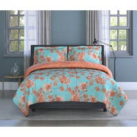 Watercolor Garden Floral, Orange, Soft Microfiber, 2-piece Comforter Set Inspired Surroundings by 1888 Mills