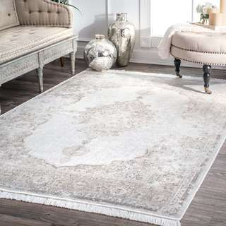 Gracewood Hollow LaFlesche Distressed Medallion Ivory Viscose Tassel Area Rug - 10' x 14'