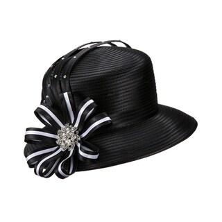 Giovanna Signature Women's Black&White Rhinestone-embellished Ribbon Hat