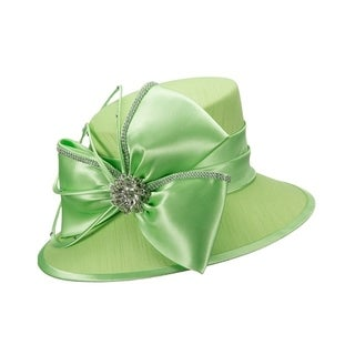 Giovanna Signature Women's Fabric Covered Hat with Big Satin Flower and Rhinestone Jewelry (2 options available)