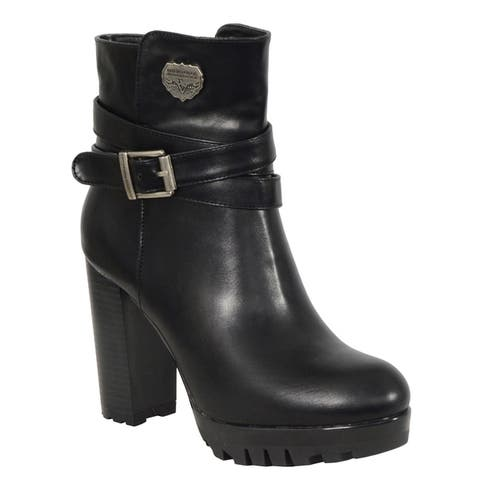 Ladies Black Double Strap Side Zipper Boot w/ Platform Heel