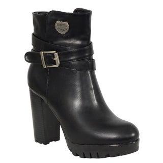 Ladies Black Double Strap Side Zipper Boot w/ Platform Heel