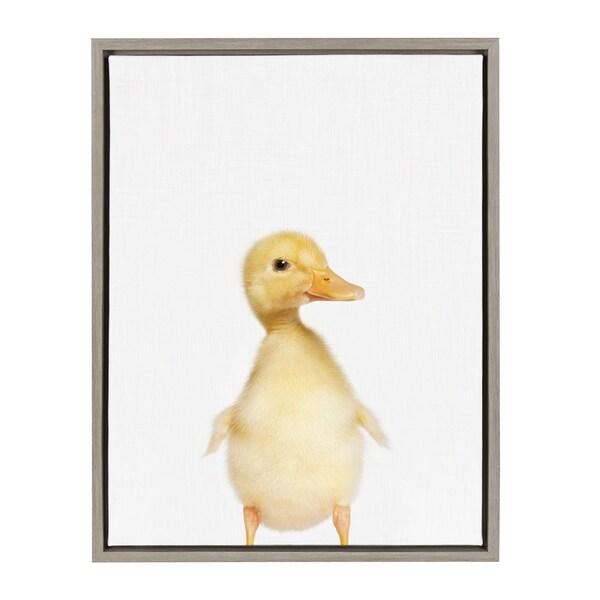 Sylvie Baby Duck Animal Print Portrait Framed Canvas Art, Gray 18 x 24
