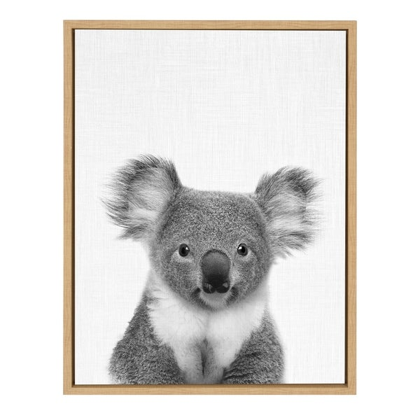 Sylvie Koala Bear Portrait Framed Canvas Wall Art, Natural 18x24
