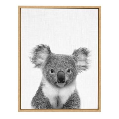 Sylvie Koala Bear Portrait Framed Canvas Wall Art, Natural 18x24