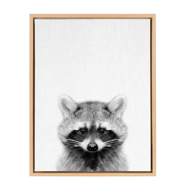 Shop Sylvie Raccoon Portrait Framed Canvas Art Natural