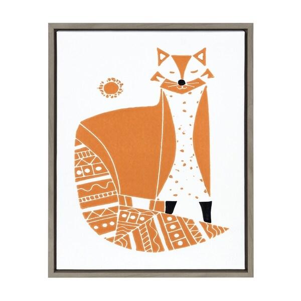 Sylvie Red Fox Linocut Print Framed Canvas Wall Art Gray