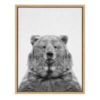 Sylvie European Brown Bear Portrait Framed Canvas Art, Natural 18x24