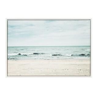 Sylvie Beach Scene with Waves, Framed Canvas Wall Art, White 23 x 33