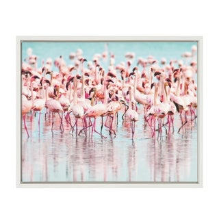 Sylvie Flamingos in Water Framed Canvas Wall Art, White 18 x 24 - N/A