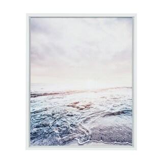 Sylvie Waves on the Beach Framed Canvas Wall Art, White 18 x 24