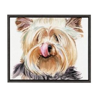 Sylvie Yorkshire Terrier Framed Canvas Art, Dark Gray 18 x 24