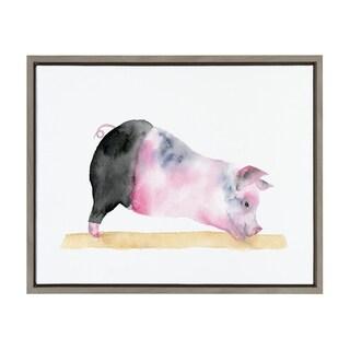 Sylvie Watercolor Pig Doing Yoga Framed Canvas Art, Gray 18 x 24
