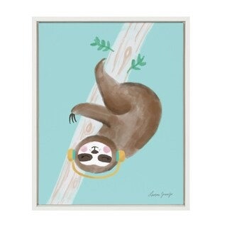 Sylvie Sloth Headphones Framed Canvas Wall Art, White 18 x 24 - N/A